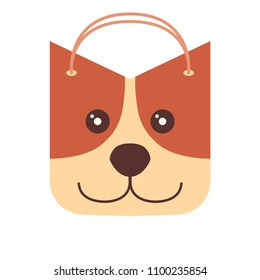 Petshop food logo, dog bag, happy cute cartoon pet package. Vector
