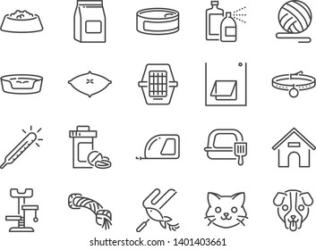 Petshop line icon set. Included icons as pet shop, pets, cat, dog, vitamin, toy and more.