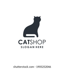 Petshop Logo Design. Abstract Cat Silhouette Icon. Simple, Modern, Clean, Minimalist.