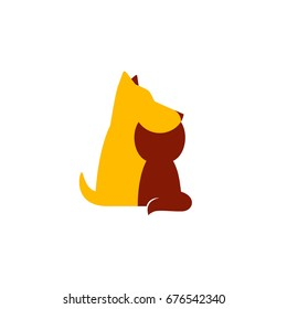 Petshop or veterinary clinic logo. Vector pets silhouettes on a white background. Dog and cat.