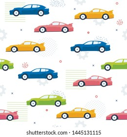 Pettern Seamless Color Cars, Cogwheesl, Dot, Line. Multicolored Cars White Background, Abstract Patterns for Design, Cards, Kids Background, Textile. Vector Cartoon flat illustration