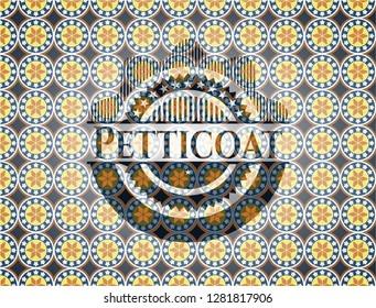 Petticoat arabic emblem background. Arabesque decoration.