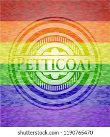 Petticoat emblem on mosaic background with the colors of the LGBT flag