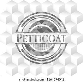 Petticoat grey emblem. Retro with geometric cube white background