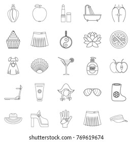 Petticoat icons set. Outline set of 25 petticoat vector icons for web isolated on white background