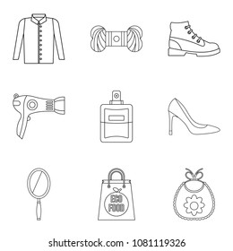 Petticoat icons set. Outline set of 9 petticoat vector icons for web isolated on white background