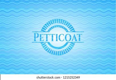 Petticoat water wave representation emblem background.