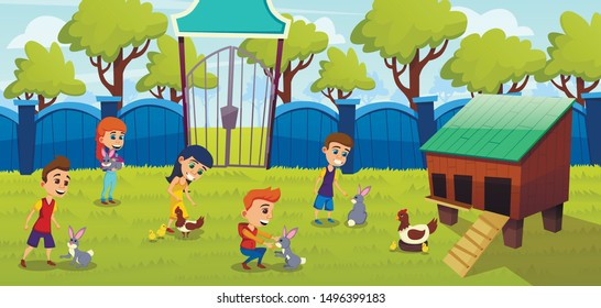 Petting Zoo, Farm with Cute Domesticated Animals Cartoon Vector Concept. Little Kids, Preschooler Boys and Girls, Interacting, Touching, Playing with Rabbits and Chickens on Farmyard Lawn Illustration