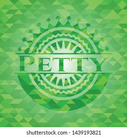 Petty green emblem with triangle mosaic background. Vector Illustration. Detailed.