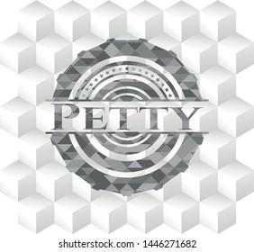 Petty grey emblem with geometric cube white background