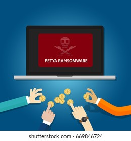 petya ransom ware cyber attack virus computer security vector