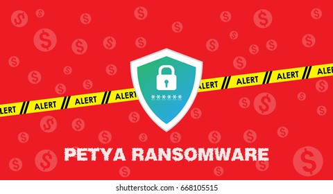 Petya ransomware cyber security banner and background vector illustration, Ransomware attack and protection concept.