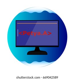 Petya A virus illustration. World virus attack by Petya A virus.
