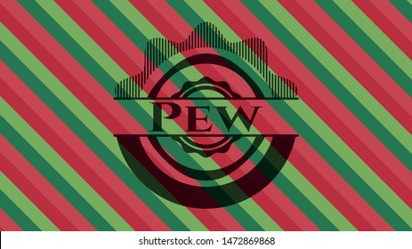 Pew christmas colors style badge. Vector Illustration. Detailed.