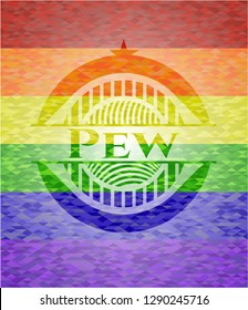 Pew emblem on mosaic background with the colors of the LGBT flag