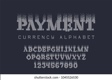 Pexel style lettering - electronic coin font. Digital currency alphabet letters set. Vector illustration