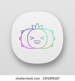 Peyote cactus app icon. Cactus with laughing face. Wild Lophophora cacti. Happy plant with squinting eyes. UI/UX user interface. Web or mobile applications. Vector isolated illustrations