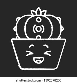 Peyote cactus chalk icon. Cactus with laughing face. Lophophora. Home cacti in pot. Mexico flora. Happy plant, squinting eyes. Succulent plant. Houseplant. Isolated vector chalkboard illustration