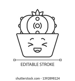 Peyote cactus cute kawaii linear character. Cactus with laughing face. Lophophora. Home cacti in pot. Happy plant, squinting eyes. Thin line icon. Vector isolated outline illustration. Editable stroke