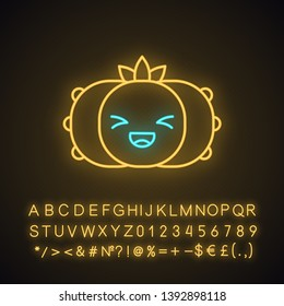 Peyote cactus cute kawaii neon light character. Cactus with laughing face. Lophophora. Happy plant. Funny emoji, emoticon. Glowing icon with alphabet, numbers, symbols. Vector isolated illustration