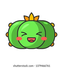 Peyote cactus cute kawaii vector character. Wild Lophophora cacti with laughing face. Mexico native flora. Flushed plant with squinting eyes. Funny emoji, emoticon. Isolated cartoon color illustration