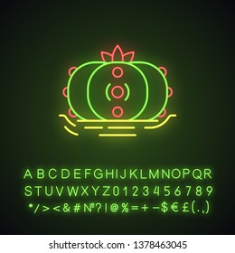 Peyote cactus in ground neon light icon. Lophophora. Mescal button. Hallucinogenic cactus. Mexico native flora. Glowing sign with alphabet, numbers and symbols. Vector isolated illustration