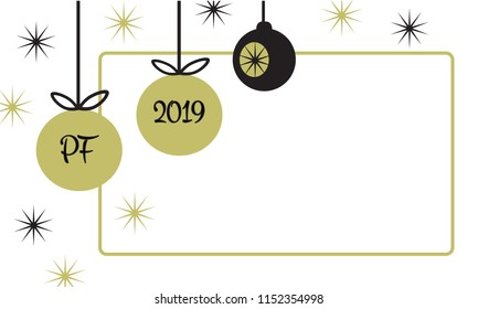 PF 2019 christmas card with hanging christmas ball baubles and star in simple flat retro style frame gold and black vector illustration