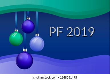 PF 2019 Christmas greeting card design with realistic blue and green glass christmas balls. 3d Baubles hanging on silk ribbon. with blue and green waves frame with silver sign Vector eps10