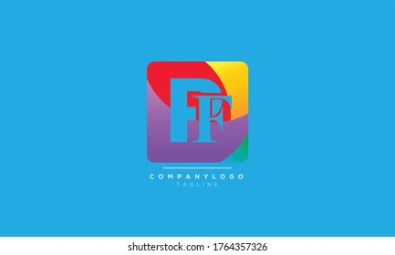 PF abstract colorful logo design