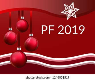 PF Christmas greeting card design with realistic red glass christmas balls. 3d Baubles hanging on silk ribbon. with red and white waves frame and white star snowflake and PF 2019 sign. Vector eps10