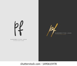 PF Initial handwriting or handwritten logo for identity. Logo with hand drawn style.