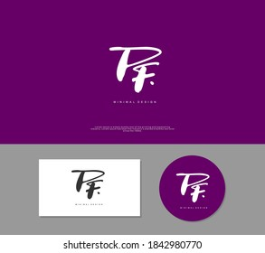 PF Initial handwriting or handwritten logo for identity. Logo with signature and hand drawn style.