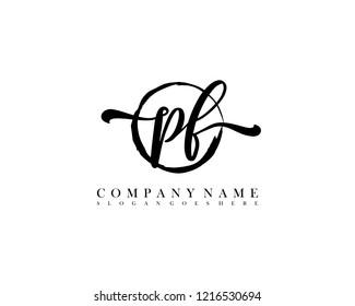 PF initial handwriting logo circle template vector