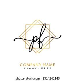 PF Initial Handwriting logo template vector