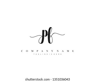 PF initial handwriting logo template with luxury color vector.