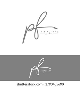 PF Initial letter handwriting and signature logo.