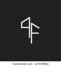 PF Initial Letters logo monogram with up to down style isolated on black background