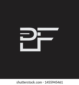 PF initial logo Capital Letters black background