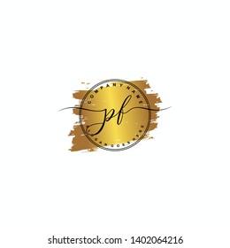 PF Initial luxury handwriting logo vector