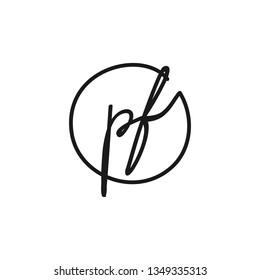 PF initial signature logo. handwriting logo template vector,