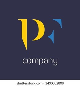 PF logo design. Company logo. Monogram logo for letters P and F.