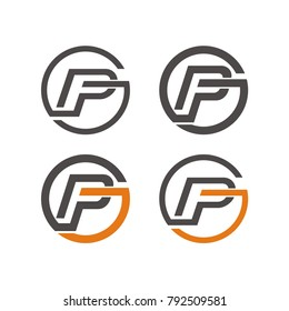 PF logo,  fg logo, pfg, fgp, pg logo design template vector illustration