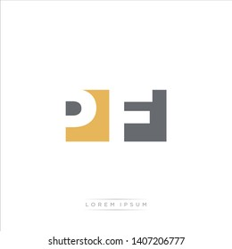 PF Logo Letter with Modern Negative space - Brown and Grey Color EPS 10