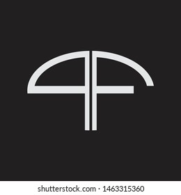 PF Logo letter oval monogram design template with black and white colors