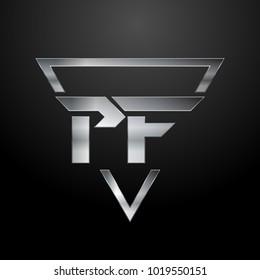 PF Logo, Metal Logo, Silver Logo, Monogram, Polygon
