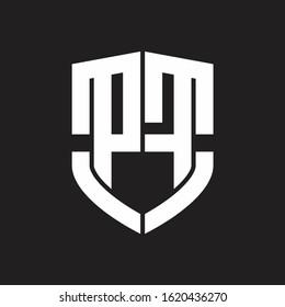 PF Logo monogram with emblem shield shape design isolated on black background
