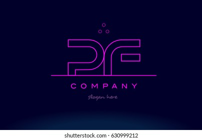 pf p f letter alphabet text pink purple dots contour line creative company logo vector icon design template