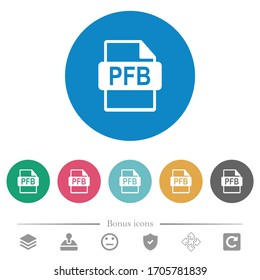 PFB file format flat white icons on round color backgrounds. 6 bonus icons included.