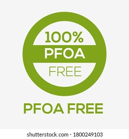 (PFOA free) Perfluorooctanoic acid  label sign, vector illustration.