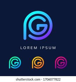 PG company letter logo Design Colorful Unique Minimal Style Template Icon.